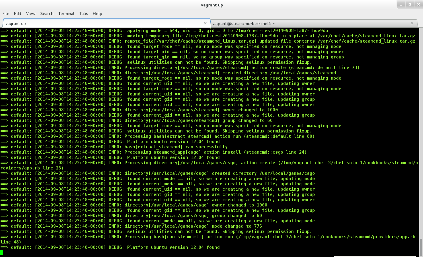 Screen shot of terminal window showing the SteamCMD cookbook being executed as part of a Chef run.